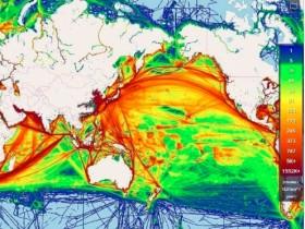 海上交通密度数据图 海上运输数据可视化图