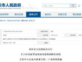 重庆:应对新冠肺炎疫情 支持中小企业共渡难关的二十条政策