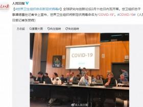 """世卫组织将新冠肺炎命名为""""COVID-19"""""""